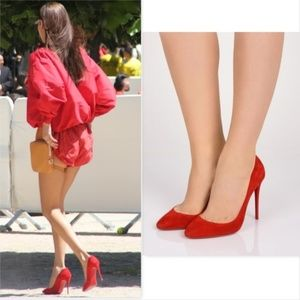 CHRISTIAN LOUBOUTIN Red Suede Pumps 37.5EU / 7US